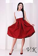 Платье-миди с бордовой юбкой 11779