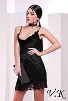 Платье из шелка с кружевом черное 11785