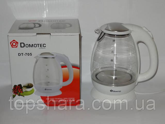 Электрочайник стекло Domotec DT-705 чайник 2.0л белый