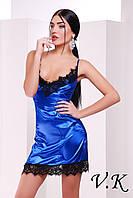 Платье из шелка с кружевом синее 11786