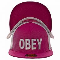 Бейсболка реперка малиновая Obey