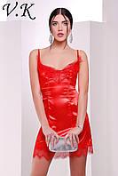 Платье из шелка с кружевом красное 11787