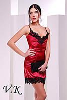 Платье из шелка с кружевом бордо 11788