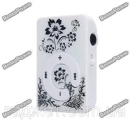 Мини MP3 плеер с клипсой и черным орнаментом, фото 2