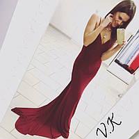 Платье вечернее из микромасла бордо 11790