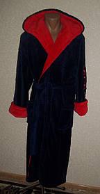 Купить недорого мужской банный халат синий с красным