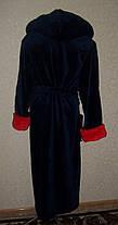 Купить недорого мужской банный халат синий с красным, фото 3