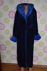 Купить недорого мужской банный халат синий и синим