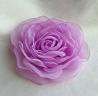 """Брошь из ткани ручной работы """"Сиреневая роза"""""""