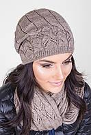 Женский вязаный комплект (шапка и шарф) капучино