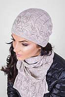 Женский вязаный комплект (шапка и шарф) лен