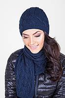 Женский вязаный комплект (шапка и шарф) синий