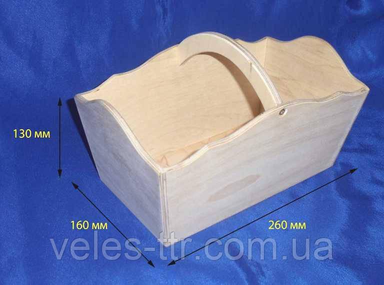 Лоток Корзинка 26х16х13 см фанера заготовка для декора