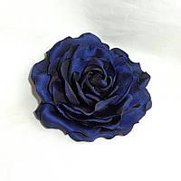 """Брошь из ткани ручной работы """"Синяя Роза"""""""