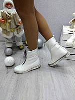 Женские натуральные  ботинки, низкие 18 см, белые / ботинки женские зимние, натуральная кожа
