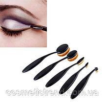"""Набор профессиональных кистей для макияжа """"зубная щетка овал"""" (5 шт) Makeup Oval Toothbrush Set black/gold, фото 3"""