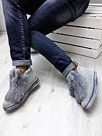 Женские ботинки с мехом кролика, низкие 9 см, серые / ботинки женские зимние, натуральная замша, модные