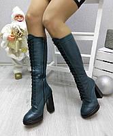 Женские сапоги на толстом каблуке 11 см, натуральная кожа, изумрудные /  сапоги зимние женские, на шнуровке