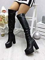Женские ботфорты зимние на тракторном каблуке 12 см, черные /  ботфорты  женские натуральная кожа, зима 2016