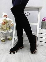 Женские ботфорты, без каблука, замшевые, черные /  ботфорты  зимние женские, эко замша, удобные