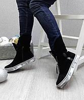 Женские низкие  ботинки, замша, черные / ботинки зимние женские натуральная замша, на плоской подошве, модные