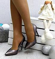 Женские туфли лодочки на каблуке 11 см, цвета капучино / туфли  для девочек, эко лак + эко кожа, модные