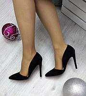 Женские туфли на каблуке 11 см, черные / черные туфли женскике, эко замша, модные
