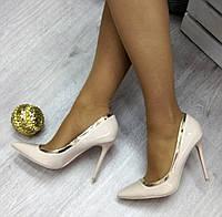 Женские туфли на высоком каблуке 11 см, светлый беж / лаковые туфли женские, модные