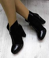 Женские  ботинки на каблуке 10 см, эко замша + эко кожа, черные  / черные ботинки женские, стильные