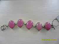 Браслет с розовым опалом. Браслет с натуральным камнем опал розовый (Перу) в серебре.