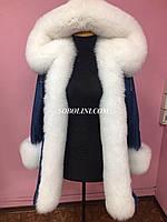 Парка с мехом финского песца альбиноса + испанский кролик, верх джинс, фото 1