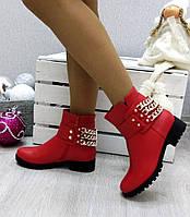 Женские ботинки низкие, кожа, красные / ботинки женские, каблук 3,5 см,  модные