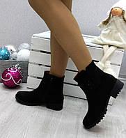 Женские низкие  ботинки, замшевые, черные / ботинки женские, каблук 3.5 см,  модные