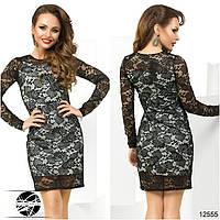 Женское вечернее гипюровое платье черного цвета. Модель 12555.