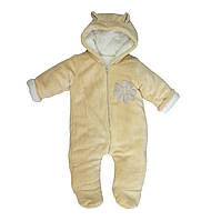 Детский комбинезон для новорожденных песочный на синтепоне