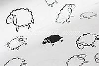 Хлопковая ткань белые овечки