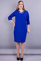 Эвелин. Стильное платье больших размеров. Электрик., фото 1