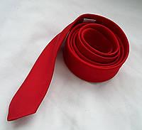 Галстук красный параллельный узкий тонкий