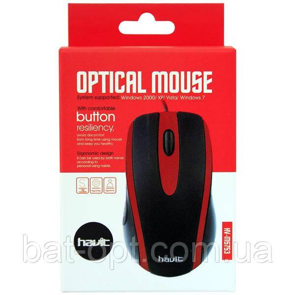 Мышь проводная HAVIT HV-MS753 USB, черная/красная