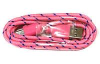 Кабель USB-micro USB шт.-шт. круглый в оплетке розовый