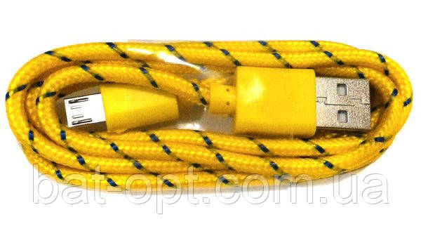 Кабель USB micro USB круглый в оплетке желтый