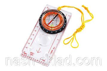 Туристический компас с линейкой планшетного типа, жидкостный механизм, фото 2