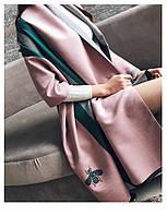 Розовый кашемировый шарф с зелеными полосами,уценка