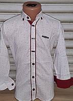 ac391f5c347 Стильная стрейчевая рубашка для мальчика 6-14 лет (белая с планкой) (пр