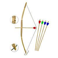 Лук детский Ну Погоди, бамбуковый корпус, подарок ребенку, стрелы в комплекте, ручная работа
