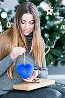 Брелок-сердце из натурального меха (синий)