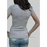 """44/S Дизайнерская футболка """" Чудик"""" в в светло-сером цвете, фото 3"""