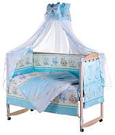 Постельный комплект Qvatro-LUX(голубой) – Мышка с сыром, слоник, котик,собачка