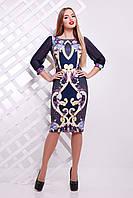 Красивое трикотажное платье с рукавами из шифона