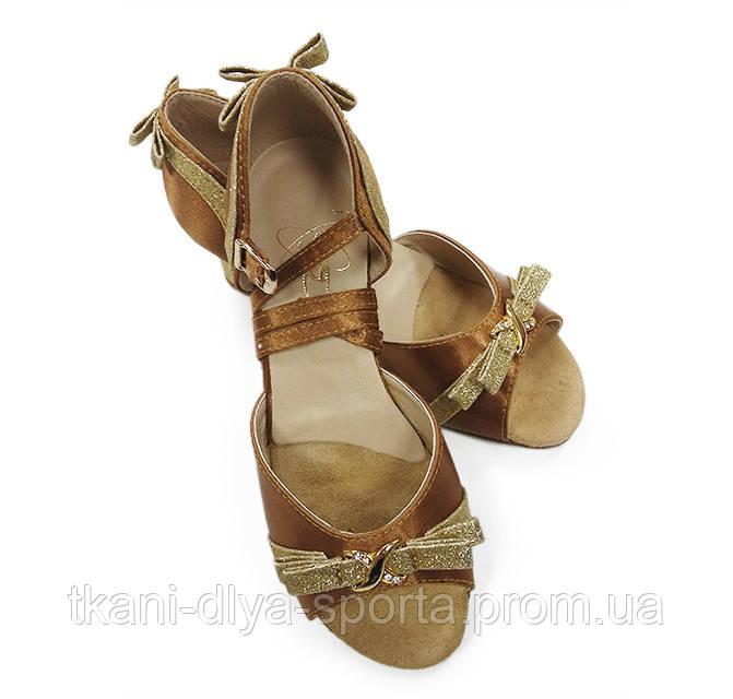 Танцевальные туфли для девочек (цвет: бежевый сатин + золото)